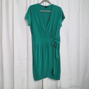 Banana Republic emerald green wrap dress L